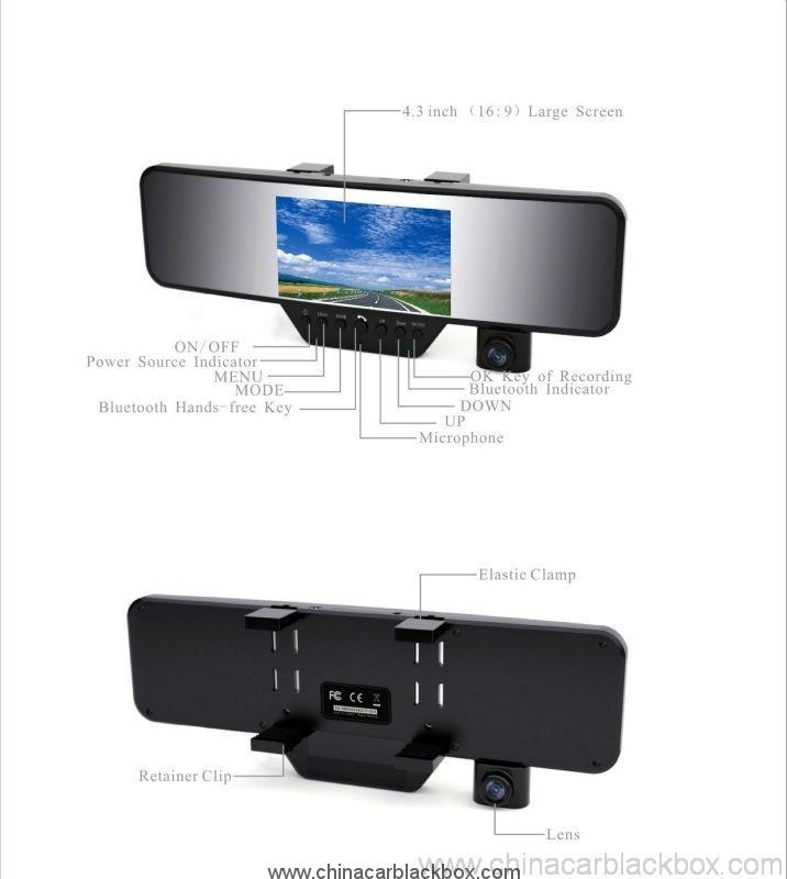 4.3 inch LCD Bluetooth Rearview Mirror HD Car DVR1