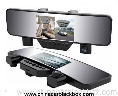 4.3 inch screen Dual-lens full hd rearview mirror car dvr