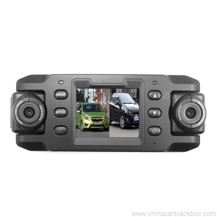 Dual 180 degree rotating lens Car DVR with GPS