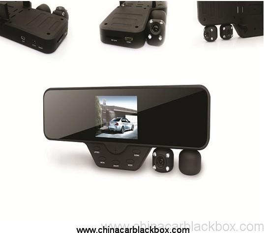 3.5 inch Screen Rearview Mirror Dual Lens Car DVR  with View Angle 120 wide angle