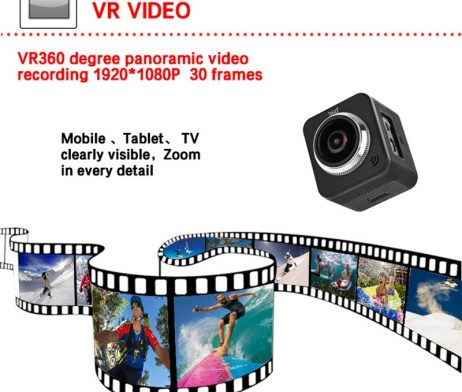Waterproof full hd 1080p sport camera 210 degree wide lens 4
