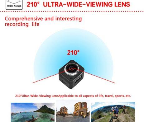 Waterproof full hd 1080p sport camera 210 degree wide lens 5