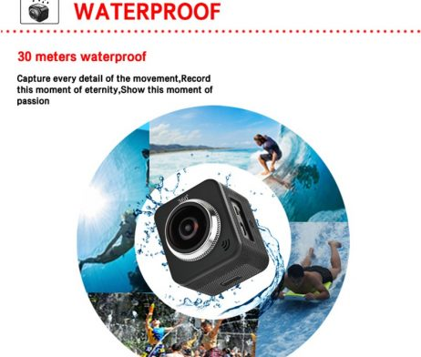 Waterproof full hd 1080p sport camera 210 degree wide lens 6