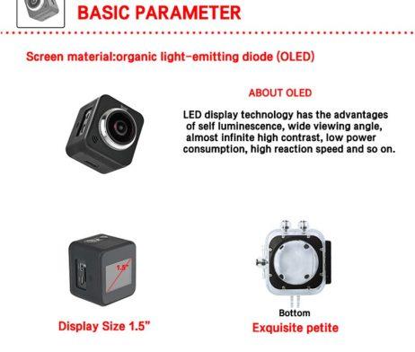 Waterproof full hd 1080p sport camera 210 degree wide lens 8